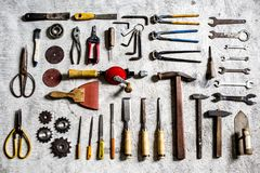 Materials equipment set on the table Stock Photography