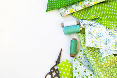 Materials at hand sewing on white Royalty Free Stock Image