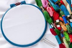 Materials for handicraft hoop Stock Photo