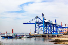 Materials handling terminal. In a terminal China Yangtze River Stock Image