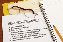 Materials for leadership workshop. Many uses in the human resources Stock Photos