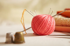 Materials for needlework. stock photos
