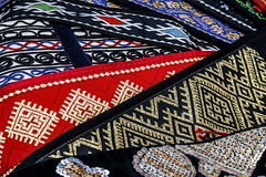 Materials with romanian traditional embroidery Royalty Free Stock Image