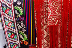 Materials with romanian traditional embroidery-1 Stock Image