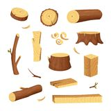 Materials for wood industry. Tree lumber, trunk. Vector. Pictures set in cartoon style. Wooden trunk, ilustration of firewood material stock illustration