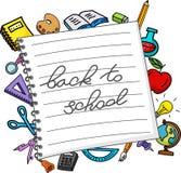 Materias de la escuela en el papel Fotografía de archivo libre de regalías