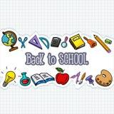 Materias de la escuela en el papel Fotos de archivo libres de regalías