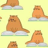 Materias textiles creativas hermosas Imagen de gatitos originales Un animal doméstico está leyendo un libro y una sonrisa Papel p libre illustration