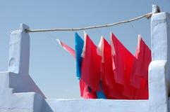 Materias textiles que cuelgan para seco Foto de archivo