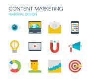 Materieel Ontwerp Inhoud marketing pictogrammen Royalty-vrije Stock Afbeeldingen