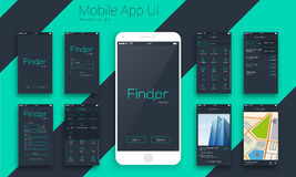 Materieel Ontwerp UI, UX-de Schermen voor Mobiele Apps Stock Afbeelding