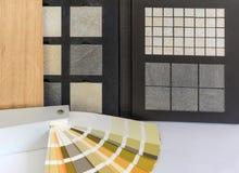 Materieel patroonparket, natuursteen, tegels, houten planken, kleurenkaart voor flatgebouw, Vernieuwingsmechanisme stock afbeeldingen