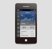 Materielapp-ui, mobil app Arkivfoto