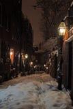 Materielbild av en snöa vinter på Boston, Massachusetts, USA Royaltyfria Bilder