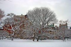 Materielbild av en snöa vinter på Boston, Massachusetts, USA Arkivfoto