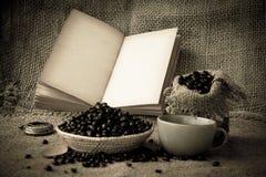 Materielfoto: öppna tomma sidor för gammal bok, tomt gulingpapper på da Royaltyfri Foto