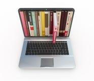 Materielfoto av e-böcker i bärbar datordator Royaltyfri Bild