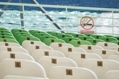 Materielfoto - stadion placerar ingen selektiv fokus för smock Arkivfoton