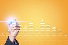 Materielhandel, diagram för dataanalys, diagram, graf på den faktiska skärmen Affärs- och teknologibegrepp Arkivfoton