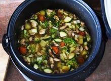 Materielkruka av soppa som är klar att äta fotografering för bildbyråer
