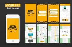 Materiell design UI, UX, GUI för mobil app-taxiservice Svars- website Royaltyfri Foto