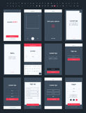 Materiell sats för designpostApp för mobil Royaltyfri Foto