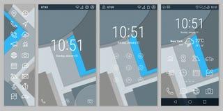 Materiell stil satte en klocka på linjen UI och UX skärmar Arkivbild