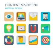 Materielles Design Zufriedene Marketing-Ikonen Lizenzfreies Stockfoto
