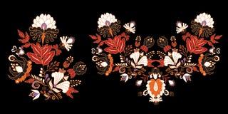 Materieluppsättning av blommaklotterbuketten orientaliskt eller arabiskt, Royaltyfri Fotografi