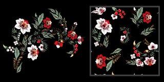 Materieluppsättning av blommaklotterbuketten orientaliskt eller arabiskt, Arkivbilder