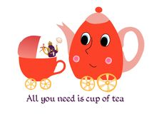 Maternal child cute cartoon poster card with teapot-mother, kettle-baby and cup-stroller Royalty Free Stock Image