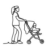 maternidad Madre joven feliz con el bebé en el cochecito de niño Dibujo lineal continuo Aislado en el fondo blanco Imagen de archivo libre de regalías