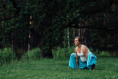 Maternidad prenatal de la yoga embarazada que hace diversos ejercicios en el parque en la hierba, respiración, estirando, estátic Foto de archivo libre de regalías