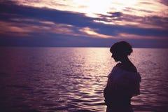 Maternità e tramonto Fotografia Stock Libera da Diritti