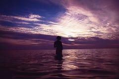 Maternità e tramonto Fotografia Stock