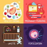 Maternity banners. Pregnancy planning and fertilization, health diet for pregnant women layette vector illustration Royalty Free Stock Images