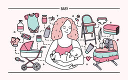 Maternity concept. Horizontal banner with mother and baby, different children s accessories. Line art colorful vector. Illustration Royalty Free Stock Photos