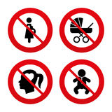 Maternity icons. Baby infant, pregnancy, buggy Stock Photos