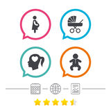 Maternity icons. Baby infant, pregnancy, buggy. Royalty Free Stock Photography