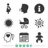 Maternity icons. Baby infant, pregnancy, buggy. Maternity icons. Baby infant, pregnancy and buggy signs. Baby carriage pram stroller symbols. Head with heart Vector Illustration