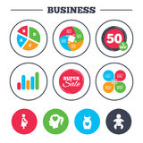 Maternity icons. Baby infant, pregnancy, dress. Business pie chart. Growth graph. Maternity icons. Baby infant, pregnancy and dress signs. Head with heart Royalty Free Stock Photos