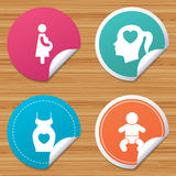 Maternity icons. Baby infant, pregnancy, dress. Round stickers or website banners. Maternity icons. Baby infant, pregnancy and dress signs. Head with heart Stock Images