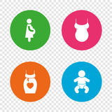 Maternity icons. Baby infant, pregnancy, dress. Stock Photography