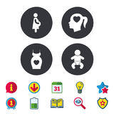 Maternity icons. Baby infant, pregnancy, dress. Maternity icons. Baby infant, pregnancy and dress signs. Head with heart symbol. Calendar, Information and Royalty Free Stock Photography