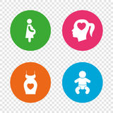 Maternity icons. Baby infant, pregnancy, dress. Maternity icons. Baby infant, pregnancy and dress signs. Head with heart symbol. Round buttons on transparent Royalty Free Stock Photos