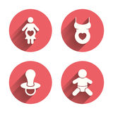 Maternity icons. Baby infant, pregnancy, dummy Stock Images