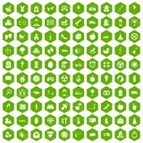 100 maternity leave icons hexagon green. 100 maternity leave icons set in green hexagon isolated vector illustration Royalty Free Stock Photos