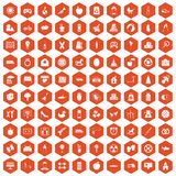 100 maternity leave icons hexagon orange Royalty Free Stock Images