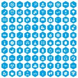 100 maternity leave icons set blue. 100 maternity leave icons set in blue hexagon isolated vector illustration Royalty Free Illustration