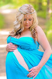 Maternity portrait of pretty blonde woman in teal dress. Stunning maternity portrait of beautiful blonde in a blue strapless dress outdoors Royalty Free Stock Images